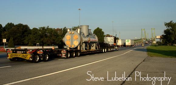 Perry Products 115,000-pound heat exchanger crosses Delaware Memorial Bridge